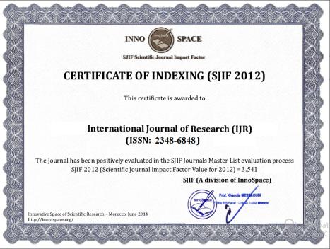 Impact Factor of IJR